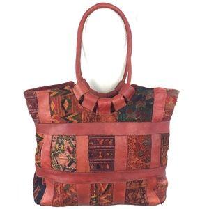Large Handmade Leather Patchwork Bag Cognac Brown